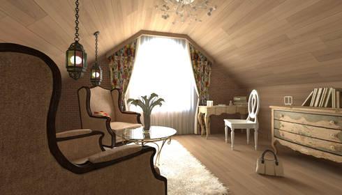 """Мансарда в стиле """"Прованс"""": Спальни в . Автор – Makhrova Svetlana"""