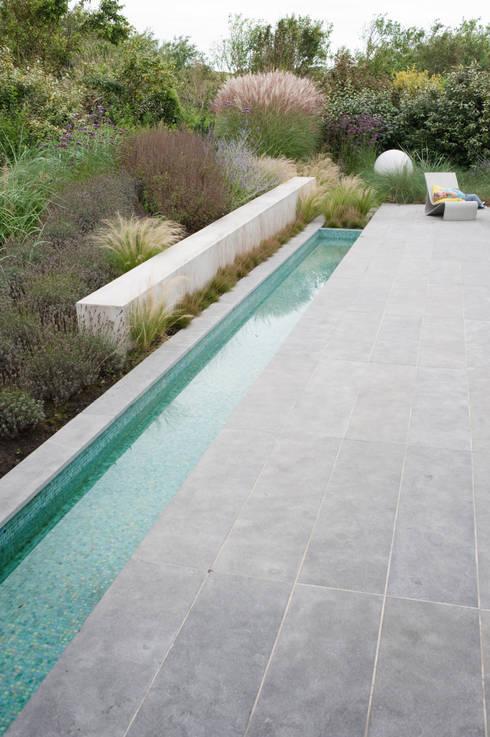 Bijzondere materialen sluiten aan bij lichte atmosfeer aan de kust: moderne Tuin door Andrew van Egmond (ontwerp van tuin en landschap)
