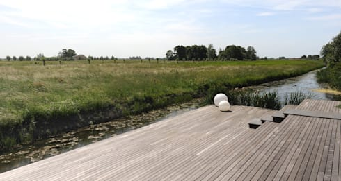 Grote vlakken en lange lijnen sluiten maken koppeling met polderlandschap: minimalistische Tuin door Andrew van Egmond (ontwerp van tuin en landschap)