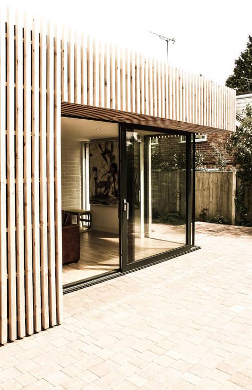 Rear Elevation - Detail at sliding door:  Houses by Klas Hyllen Architects