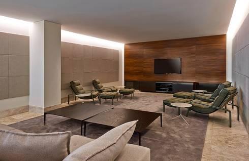 Ed. Residencial Green Garden: Salas multimídia modernas por Alessandra Contigli Arquitetura e Interiores