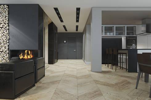 Минималистичный дизайн загородного дома: Гостиная в . Автор – MC Interior