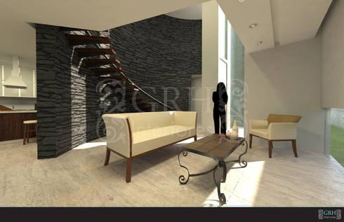 Proyecto Chaga: Salas de estilo ecléctico por GRH Interiores