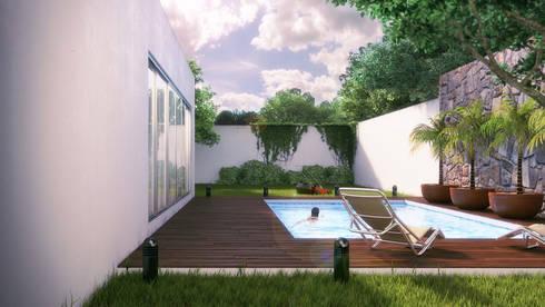Terraza y Piscina: Albercas de estilo moderno por Lights & Shades Studios