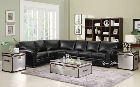 Black Leather Sofa: modern Living room by Locus Habitat