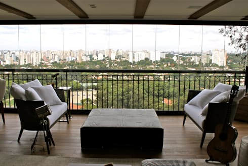 Terraço Apartamento São Paulo: Varanda, alpendre e terraço  por Vaiano e Rossetto Arquitetura e Interiores