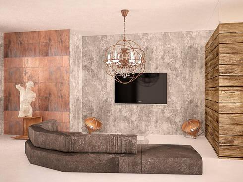 Cubes in flat: Гостиная в . Автор – SHKAF interior architects
