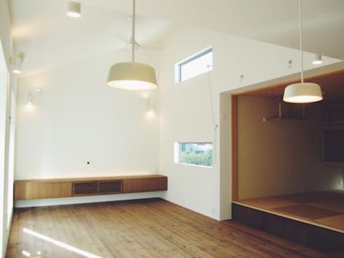東和の住まい House in to-wa: タイラ ヤスヒロ建築設計事務所/taira yasuhiro architect & associatesが手掛けたリビングです。