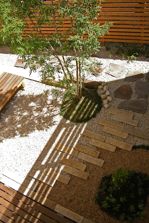 東中沢の家: 環境創作室杉が手掛けた庭です。