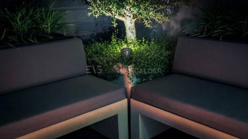 Olijfboom uitgelicht met Led spot: moderne Tuin door ERIK VAN GELDER | Devoted to Garden Design