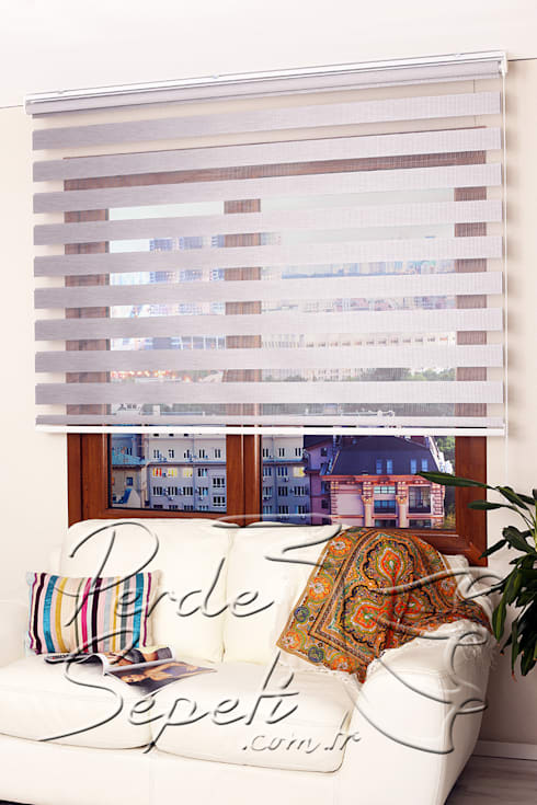Perde Sepeti – Gri Bamboo Zebra Perde: modern tarz Pencere & Kapılar