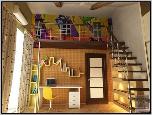 Детская комната в мансарде: Детские комнаты в . Автор – Мастерская дизайна  LOFT