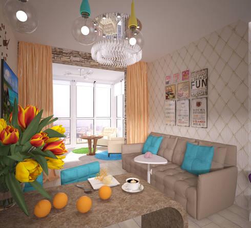 Кухня-гостиная: Гостиная в . Автор – Студия дизайна Виктории Силаевой