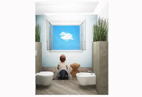 Пентхаус в стиле Лофт: Ванные комнаты в . Автор – ELEGANZA