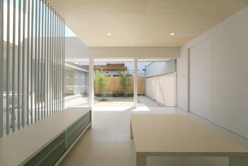 東刈谷の家: 五藤久佳デザインオフィス有限会社が手掛けたリビングです。