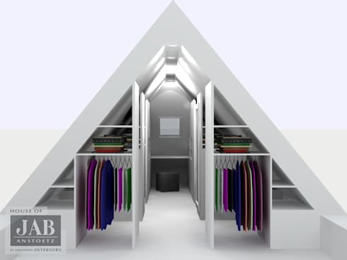 3D visualisatie inloopkast doorsnede:   door House of JAB by Verstappen Interiors