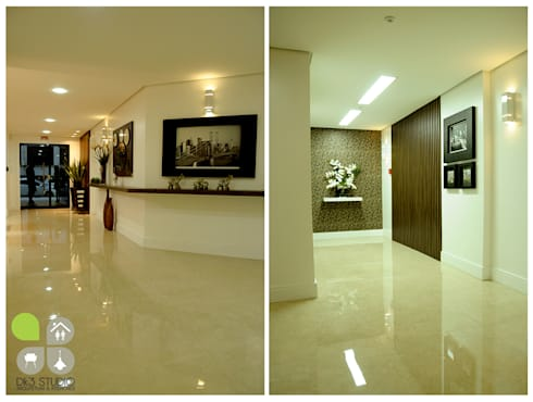 Hall de entrada – Edifício Torre de Prata : Corredores e halls de entrada  por Dani Rabello - Arquitetura e Interiores