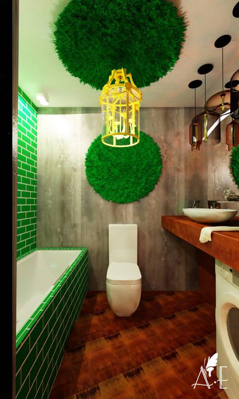 Проект интерьера квартиры 60 м2: Ванные комнаты в . Автор – Apolonov Interiors