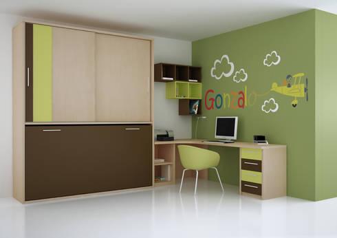 Cama abatible compacta con armario: Habitaciones infantiles de estilo  de Muebles y Decoración Marisa Cardona