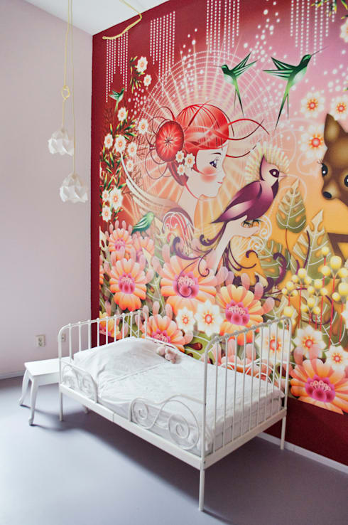 meisjeskamer met mural: moderne Kinderkamer door IJzersterk interieurontwerp