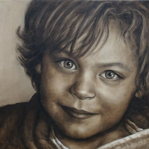Olieverfportret in opdracht Max:  Kunst  door Saskia Vugts Portretschilder