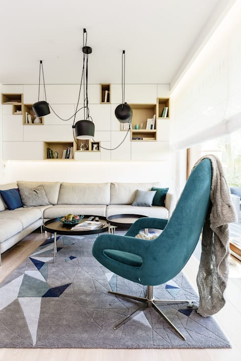 pokój dzienny: styl , w kategorii Salon zaprojektowany przez Anna Maria Sokołowska Architektura Wnętrz