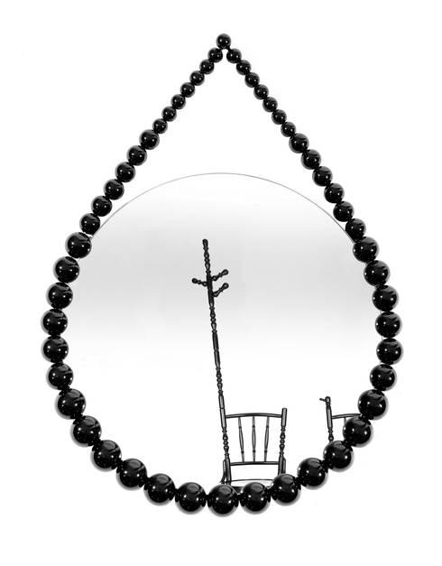 Bead Mirror: moderne Kleedkamer door Vroonland