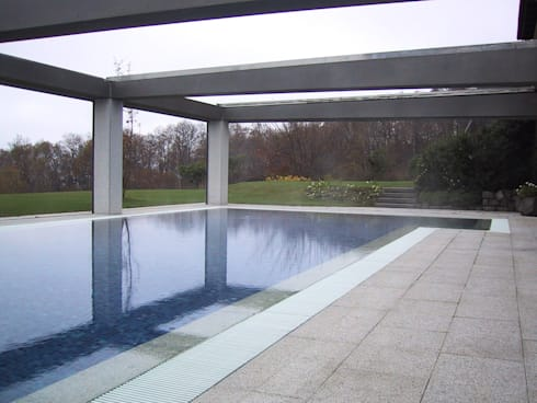 Sistemazione esterna di casa privata con piscina coperta for Grandi piani di casa con piscina coperta