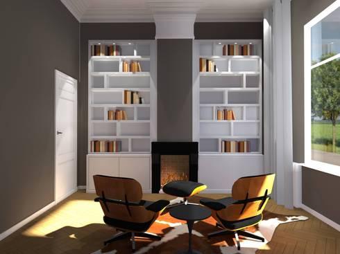 Kasten: moderne Studeerkamer/kantoor door Designed By David