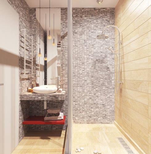 Проект трехкомнатной компактной квартиры: Ванные комнаты в . Автор – Katerina Butenko