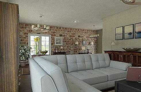 Casa pared de ladrillo: Salones de estilo clásico de MGC Diseño de Interiores