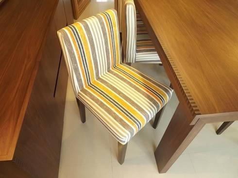 Pormenor da cadeira: Salas de jantar rústicas por Traço Magenta - Design de Interiores