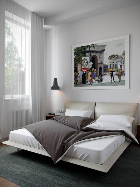 Интерьер квартиры на Гоголевском бульваре: Спальни в . Автор – Архитектурное бюро Андрея Стубе