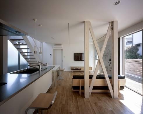 三滝の家: 有限会社アルキプラス建築事務所が手掛けたリビングです。