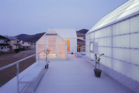 山崎町の住居: 島田陽建築設計事務所/Tato Architectsが手掛けたベランダです。