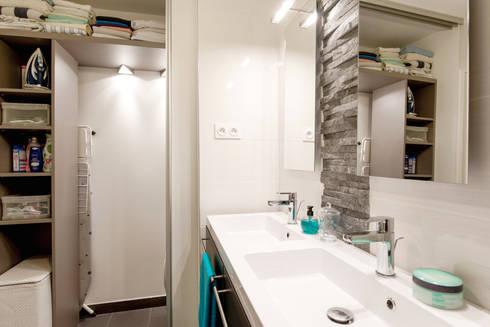 salle de bains buanderie portes de placard coulissantes ardoise vasques - Salle De Bain Wenge Zen