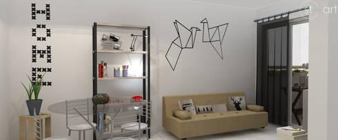 Cara nova para sala de estar: Salas de jantar modernas por start.arch architettura