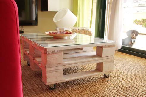TEIDE mesa palets. 80×68 cm, 2 alturas: Hogar de estilo  de ECOdECO Mobiliario