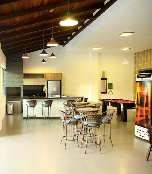 Salão de festas externo: Terraços  por Daniela Vieira Arquitetura