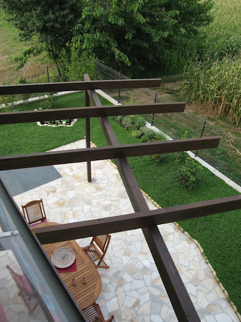 casa C: Giardino in stile  di Giuseppe Maria Padoan bioarchitetto - casarmonia progetti e servizi