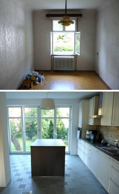 Große Terrassenfenster geben Blick ins Grüne frei und lassen Licht hinein:   von berliner landjungs