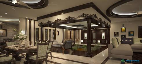Nalukettu- Living area: classic Living room by Monnaie Interiors Pvt Ltd