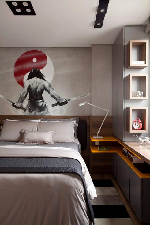Apartamento Bossa: Quartos  por Juliana Pippi Arquitetura & Design