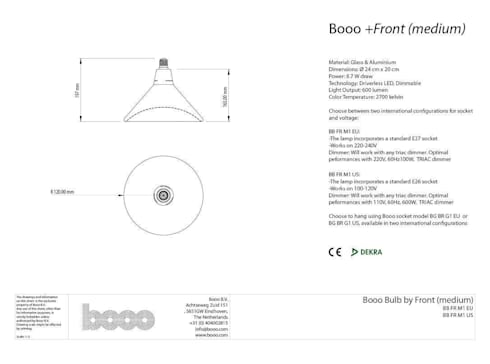 Specsheet of the medium sized lamp:   door Booo BV
