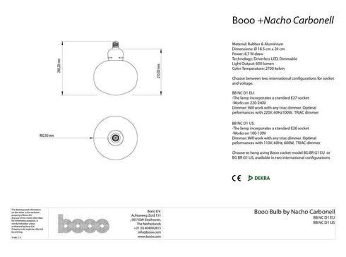 The specsheet of the Nacho bubble lamp:   door Booo BV