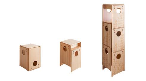 Cube Stool: tona BY RIKA KAWATO / tonaデザイン事務所が手掛けた多目的室です。