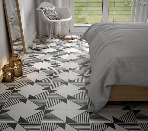 Caprice DECO Origami B&W 20x20: Dormitorios de estilo ecléctico de Equipe Ceramicas