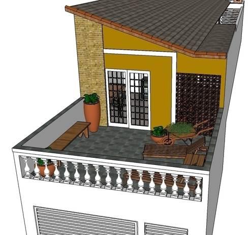 Perspectiva frontal: Casas rústicas por Natali de Mello - Arquitetura e Arte