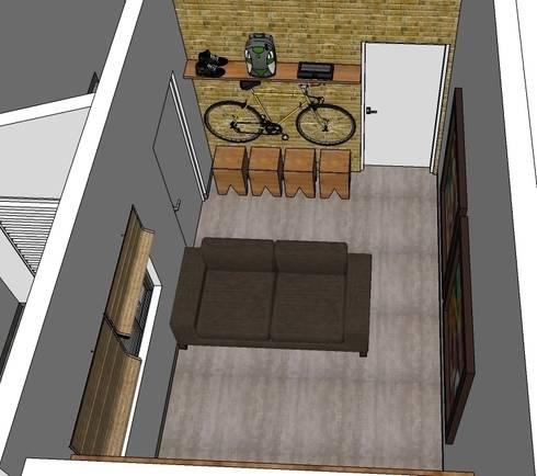 Sala de estar: Salas de estar rústicas por Natali de Mello - Arquitetura e Arte