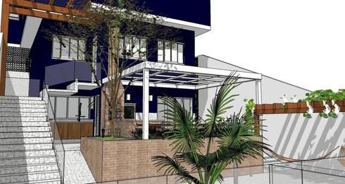 Fachada posterior: Casas modernas por Natali de Mello - Arquitetura e Arte